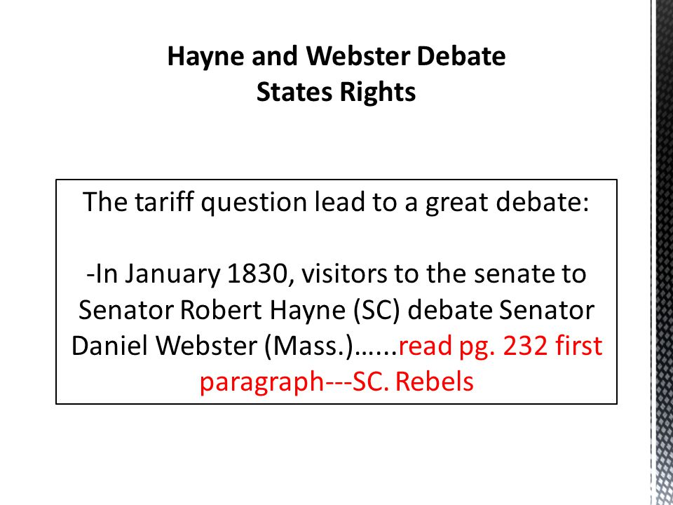 Hayne and Webster Debate States Rights