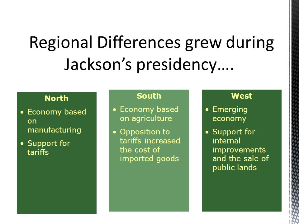 Regional Differences grew during Jackson's presidency….