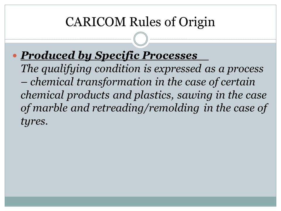 CARICOM Rules of Origin