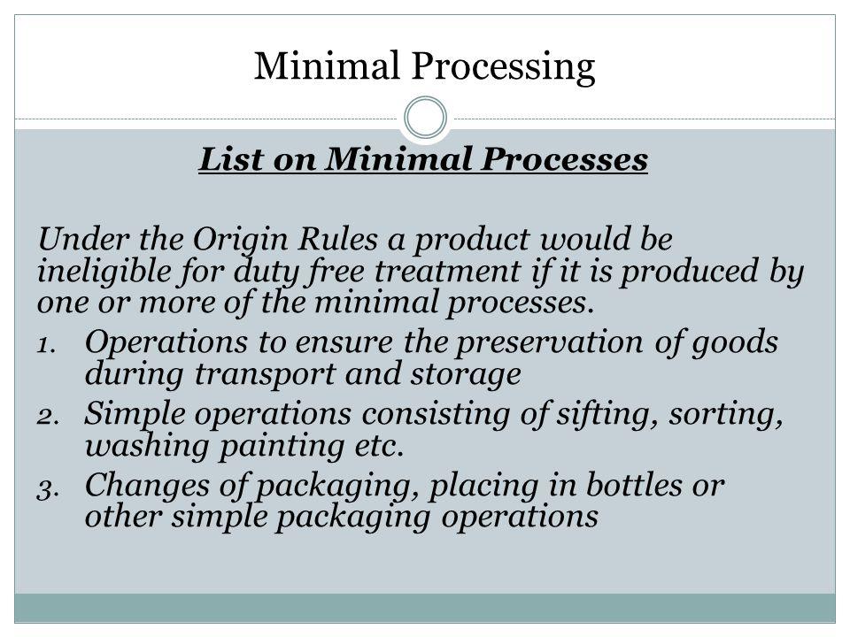 List on Minimal Processes
