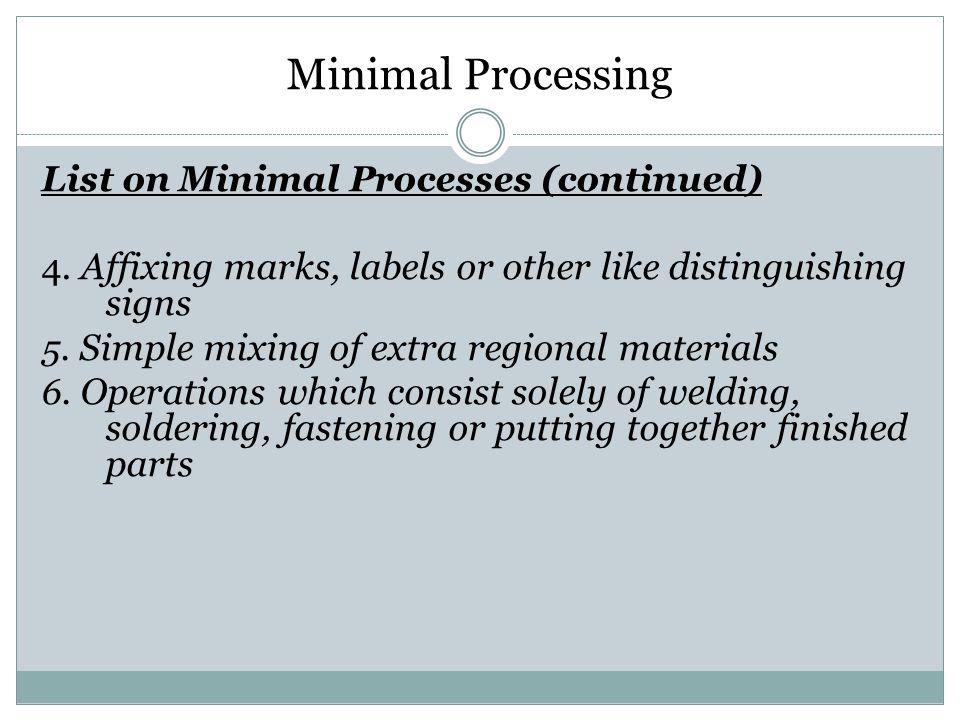 Minimal Processing List on Minimal Processes (continued)