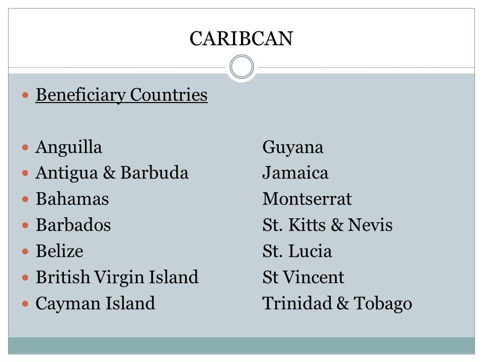 CARIBCAN Beneficiary Countries Anguilla Guyana