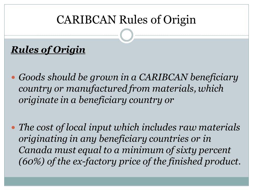 CARIBCAN Rules of Origin