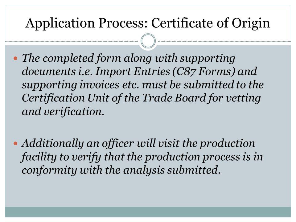 Application Process: Certificate of Origin