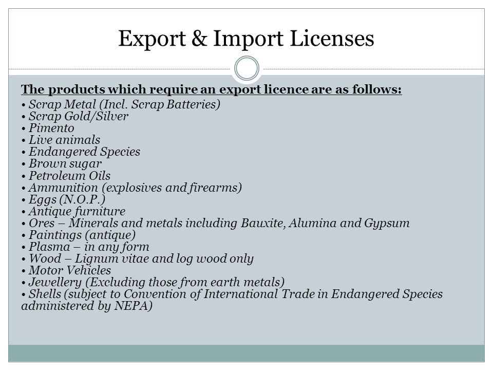 Export & Import Licenses