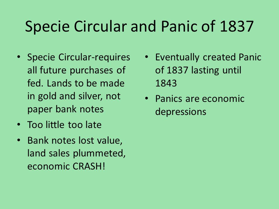 Specie Circular and Panic of 1837