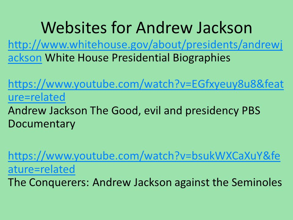 Websites for Andrew Jackson