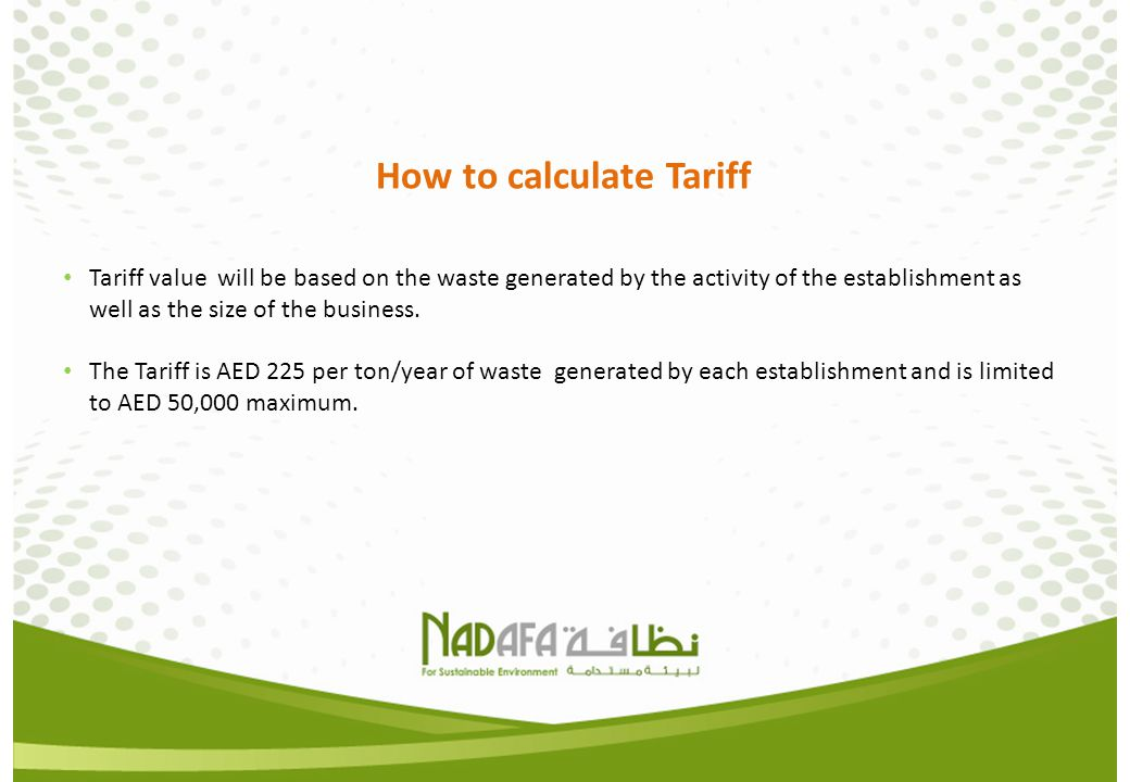How to calculate Tariff