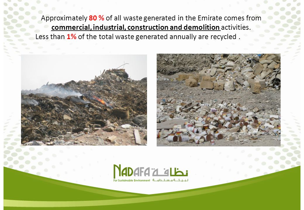Approximately 80 % of all waste generated in the Emirate comes from commercial, industrial, construction and demolition activities.