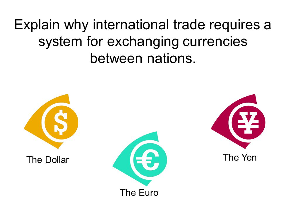 Explain why international trade requires a system for exchanging currencies between nations.