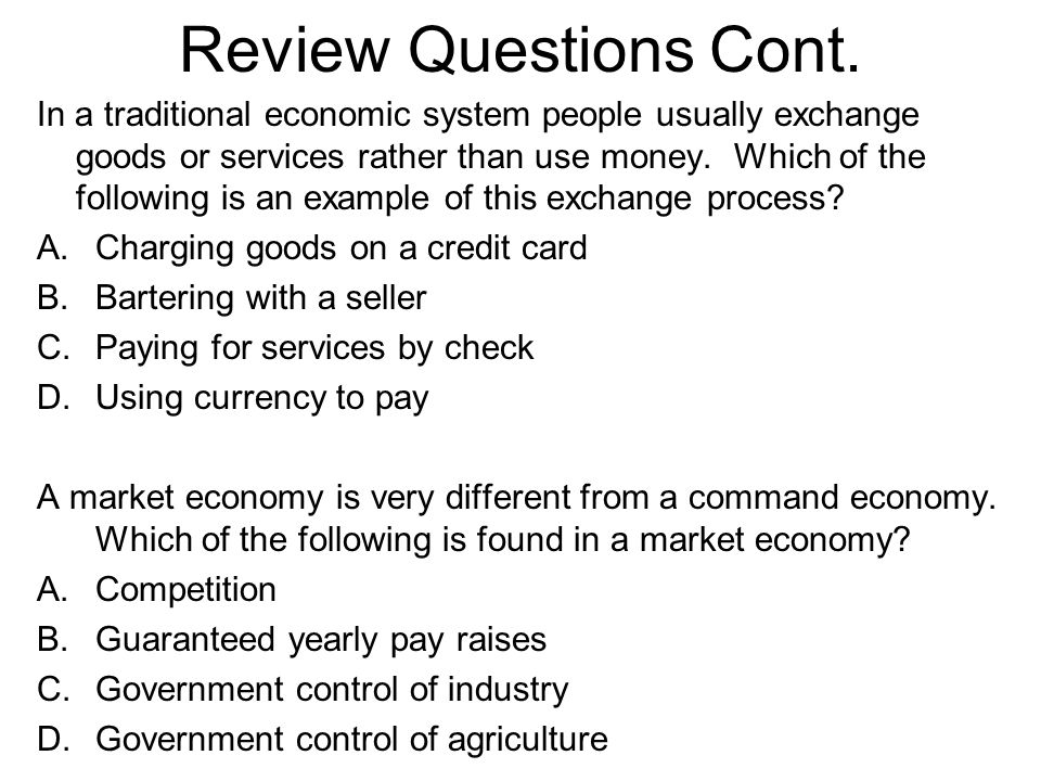 Review Questions Cont.
