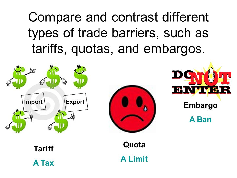 Compare and contrast different types of trade barriers, such as tariffs, quotas, and embargos.