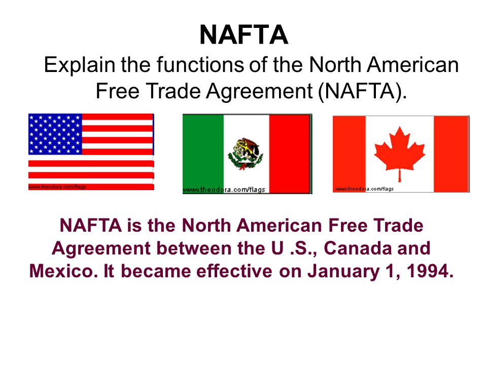 NAFTA Explain the functions of the North American Free Trade Agreement (NAFTA).