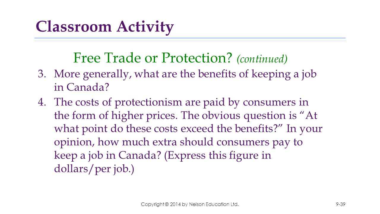 Classroom Activity Free Trade or Protection (continued)
