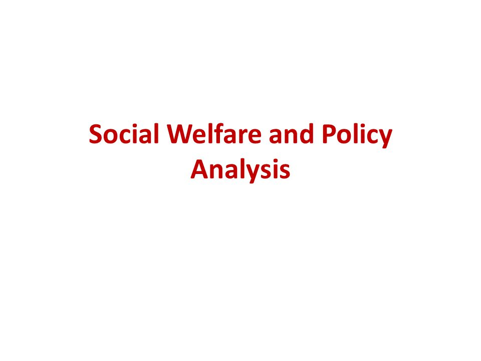 Social Welfare and Policy Analysis