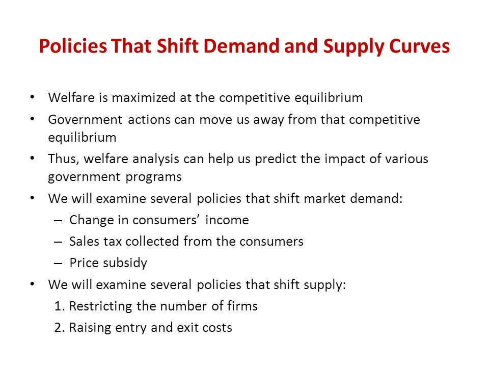 Policies That Shift Demand and Supply Curves