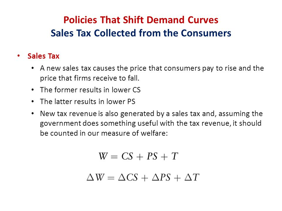 Policies That Shift Demand Curves Sales Tax Collected from the Consumers