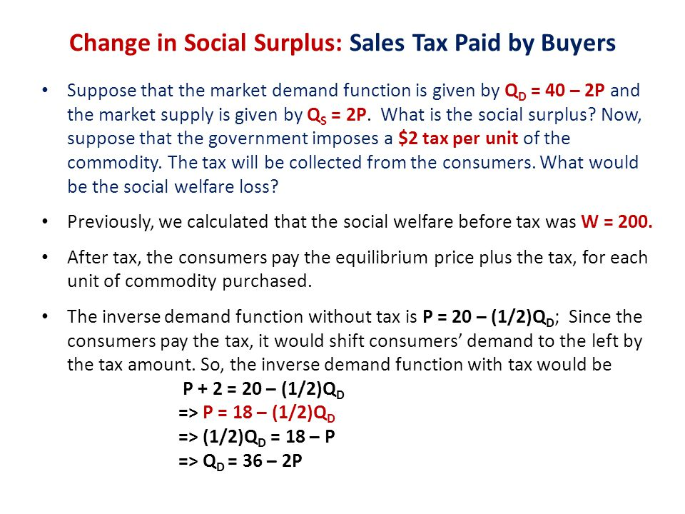 Change in Social Surplus: Sales Tax Paid by Buyers