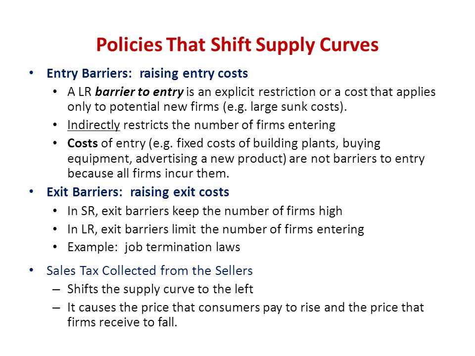 Policies That Shift Supply Curves
