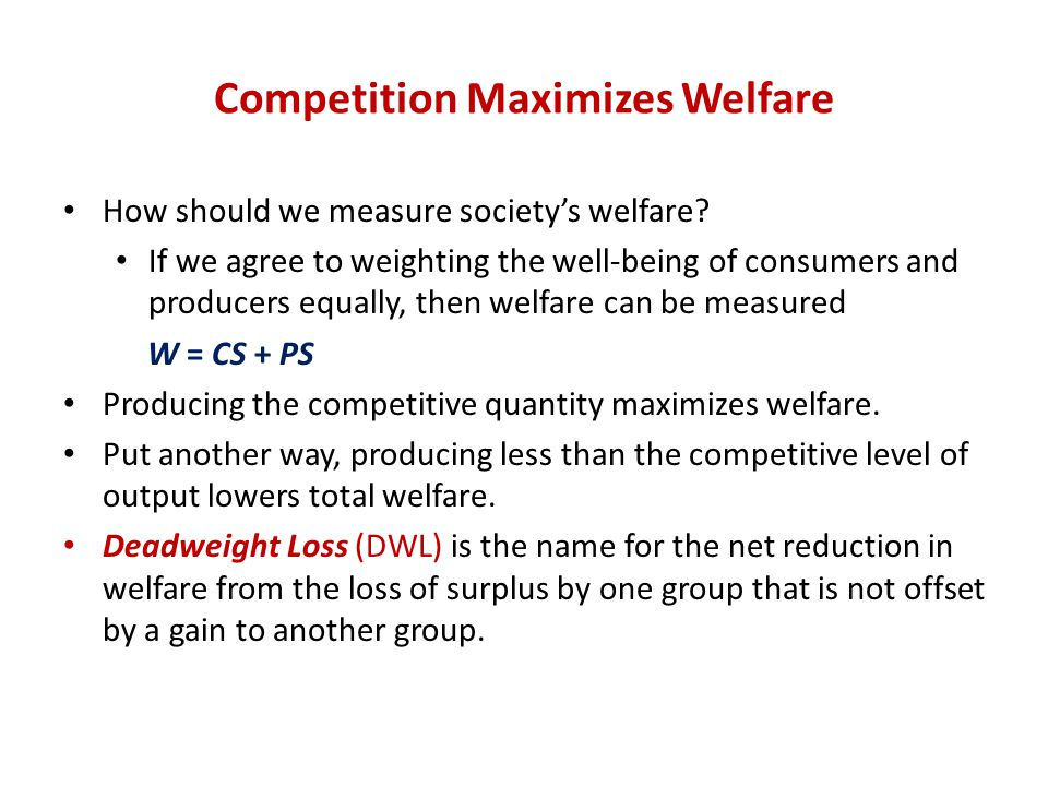 Competition Maximizes Welfare