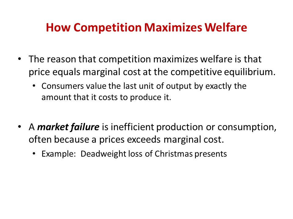 How Competition Maximizes Welfare