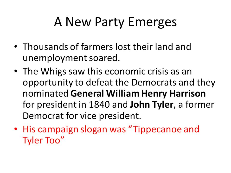 A New Party Emerges Thousands of farmers lost their land and unemployment soared.