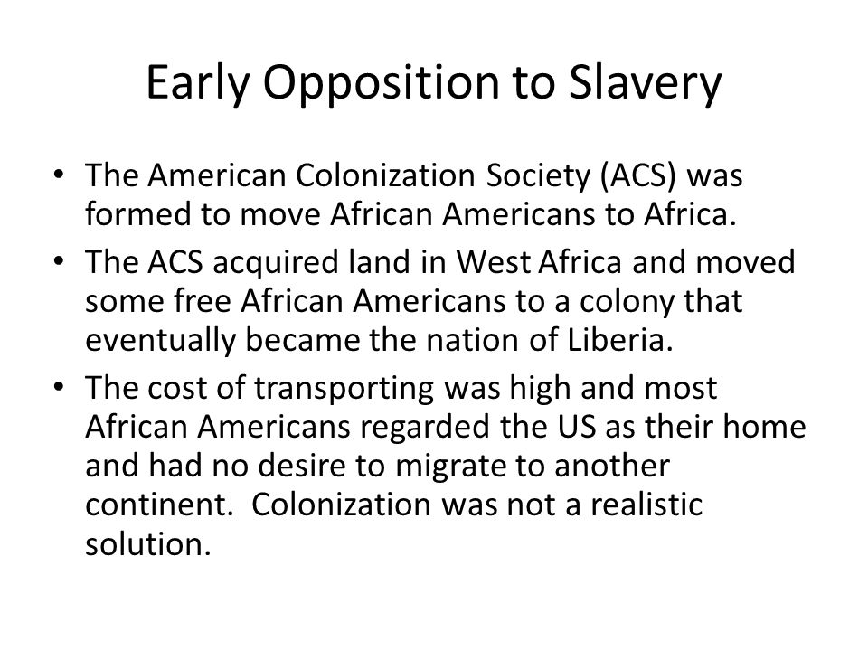 Early Opposition to Slavery