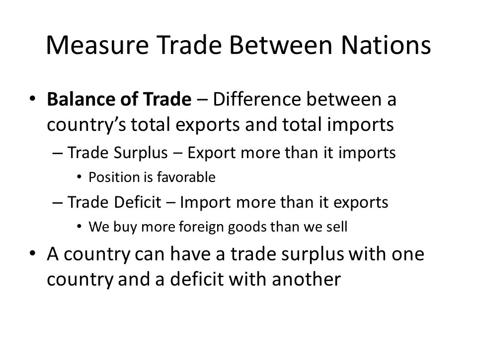 Measure Trade Between Nations