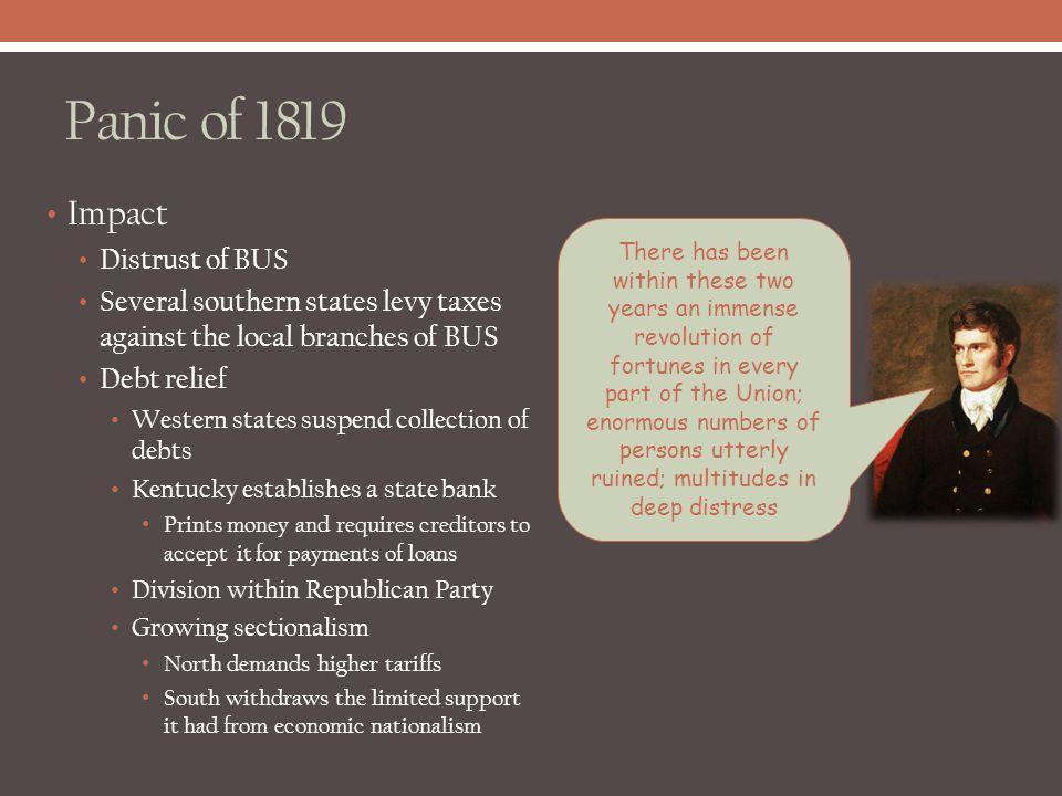 Panic of 1819 Impact Distrust of BUS