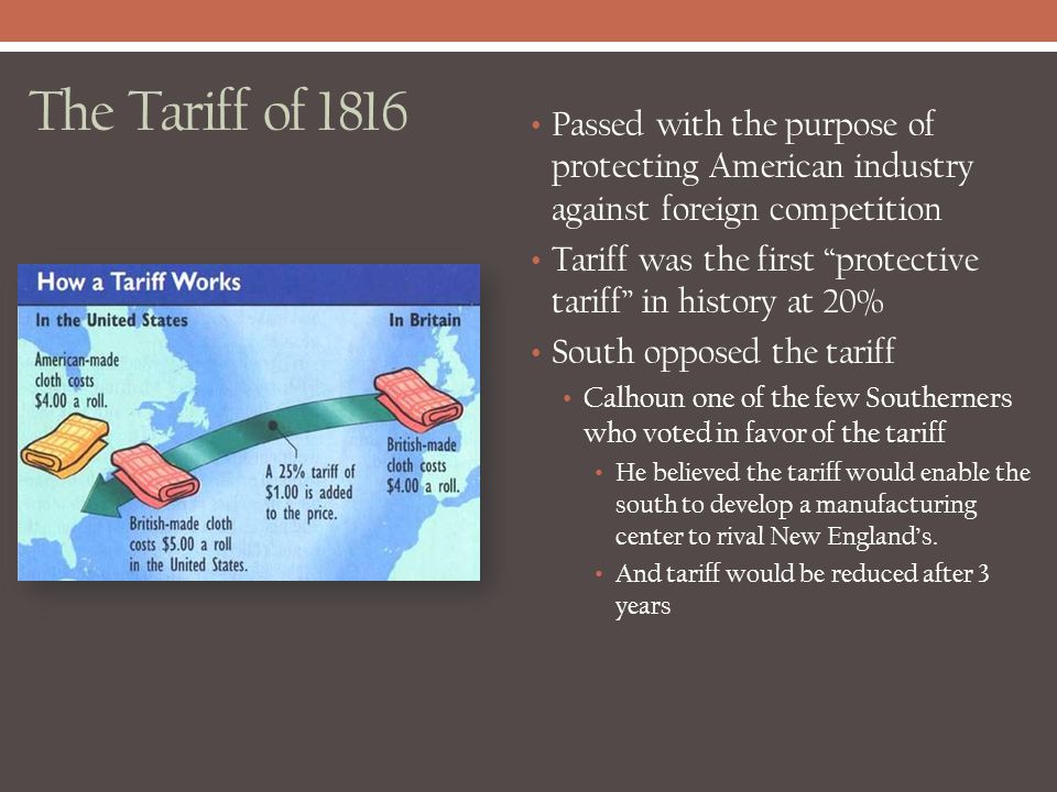 The Tariff of 1816 Passed with the purpose of protecting American industry against foreign competition.