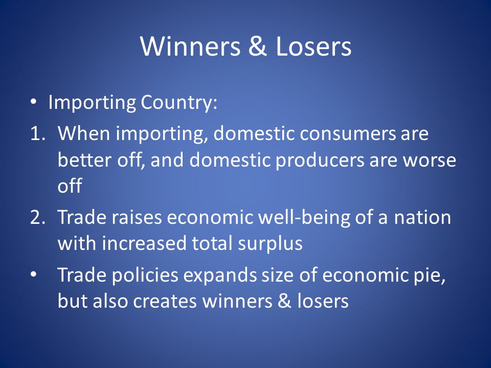 Winners & Losers Importing Country: