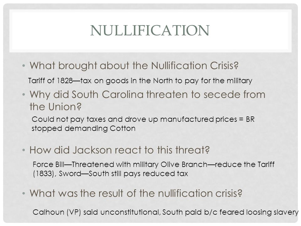 Nullification What brought about the Nullification Crisis