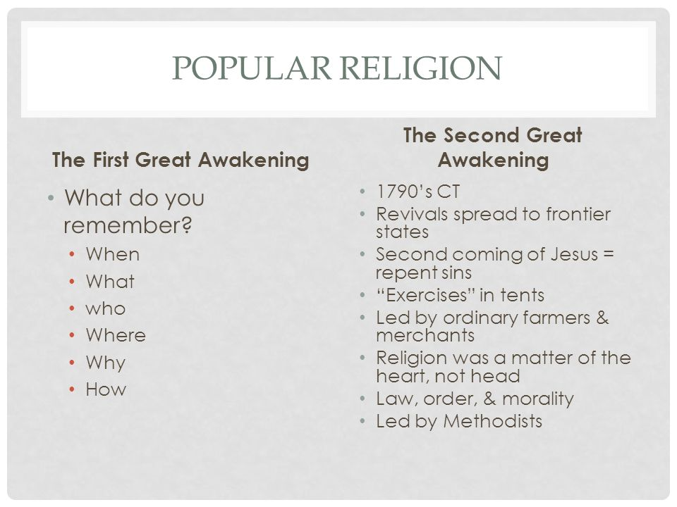 The First Great Awakening The Second Great Awakening