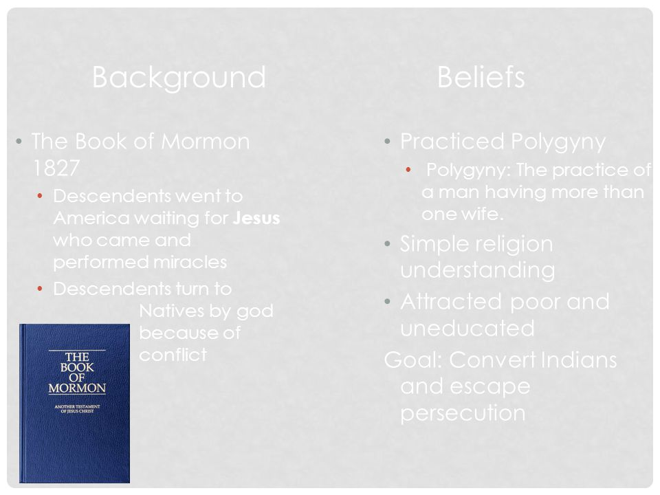 Background Beliefs The Book of Mormon 1827 Practiced Polygyny