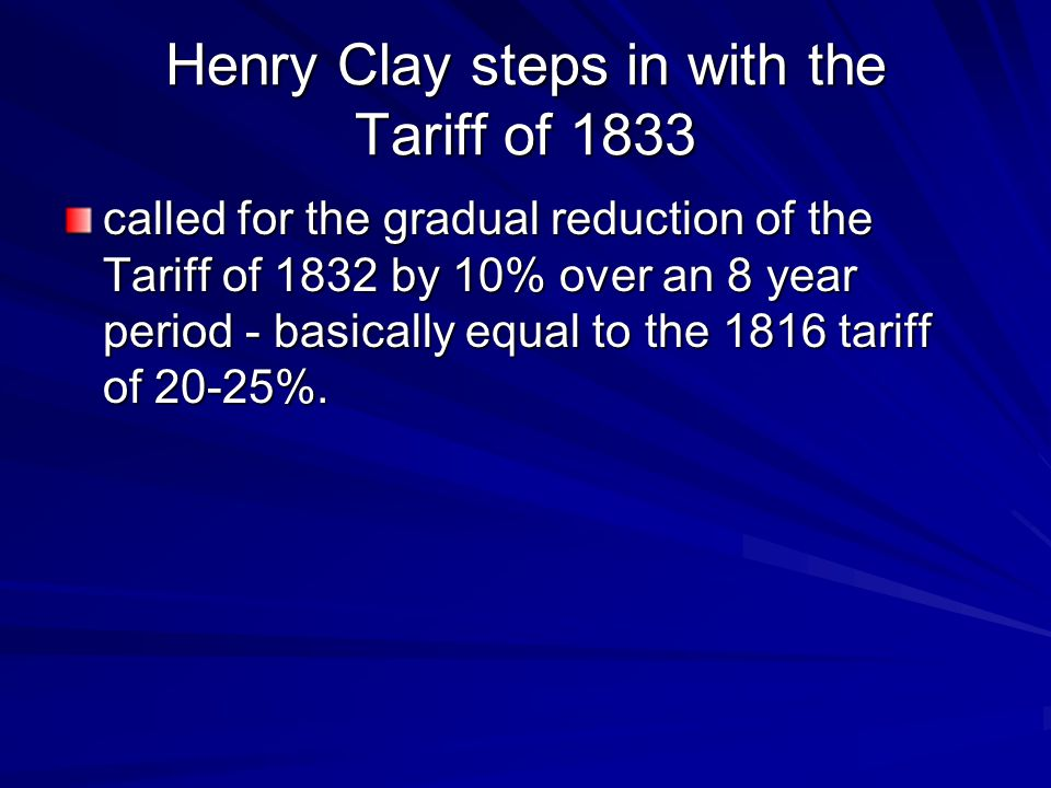 Henry Clay steps in with the Tariff of 1833
