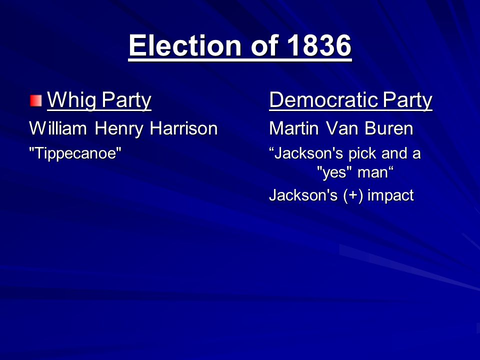 Election of 1836 Whig Party Democratic Party