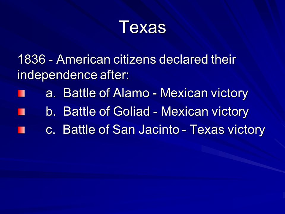 Texas 1836 - American citizens declared their independence after: