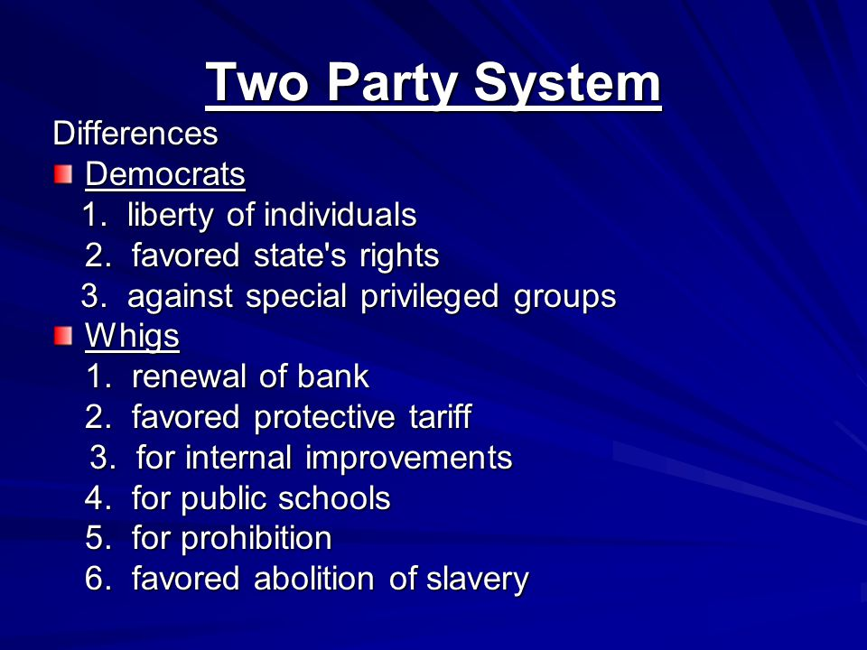 Two Party System Differences Democrats 1. liberty of individuals