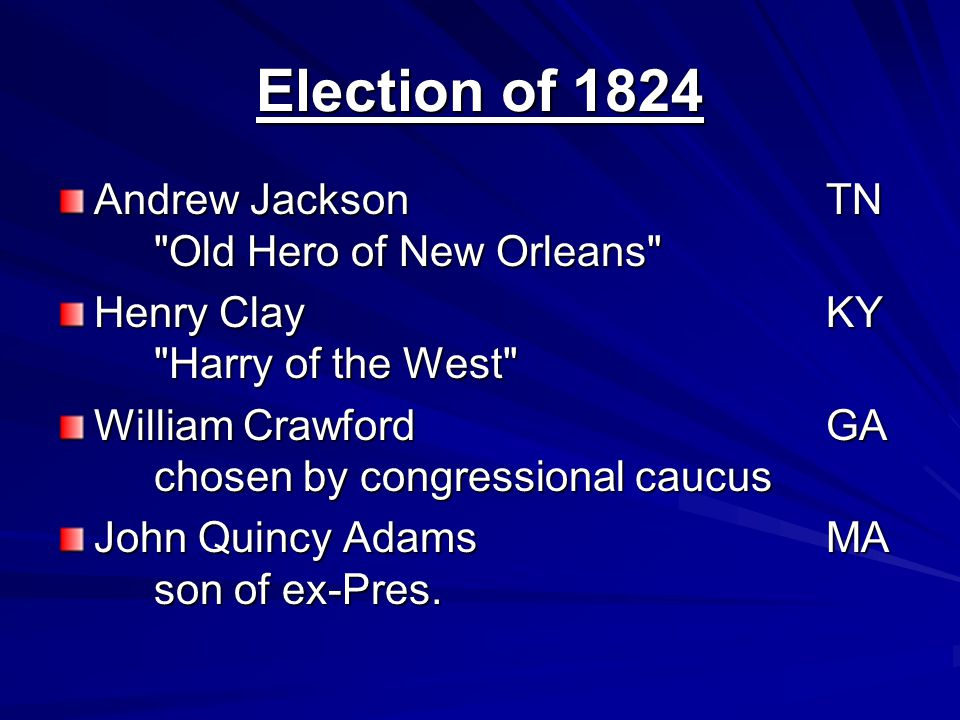 Election of 1824 Andrew Jackson TN Old Hero of New Orleans