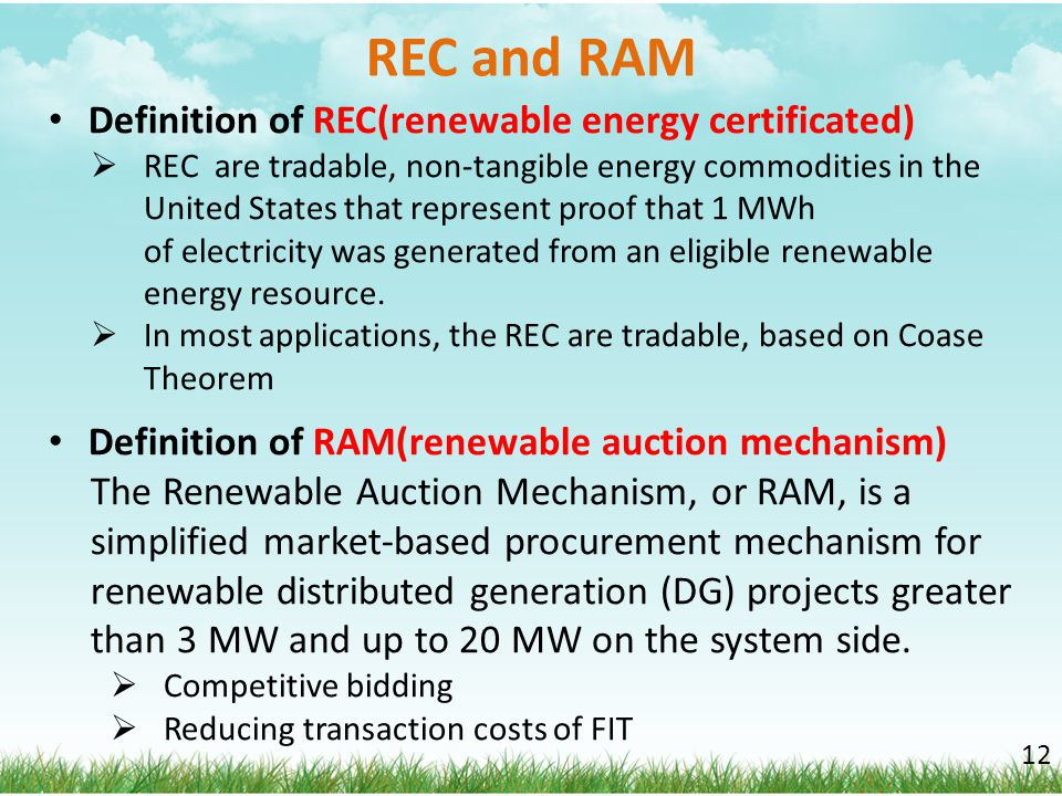 REC and RAM Definition of REC(renewable energy certificated)