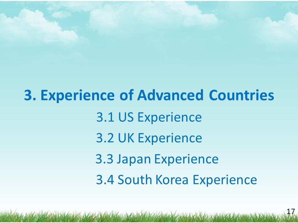 3. Experience of Advanced Countries