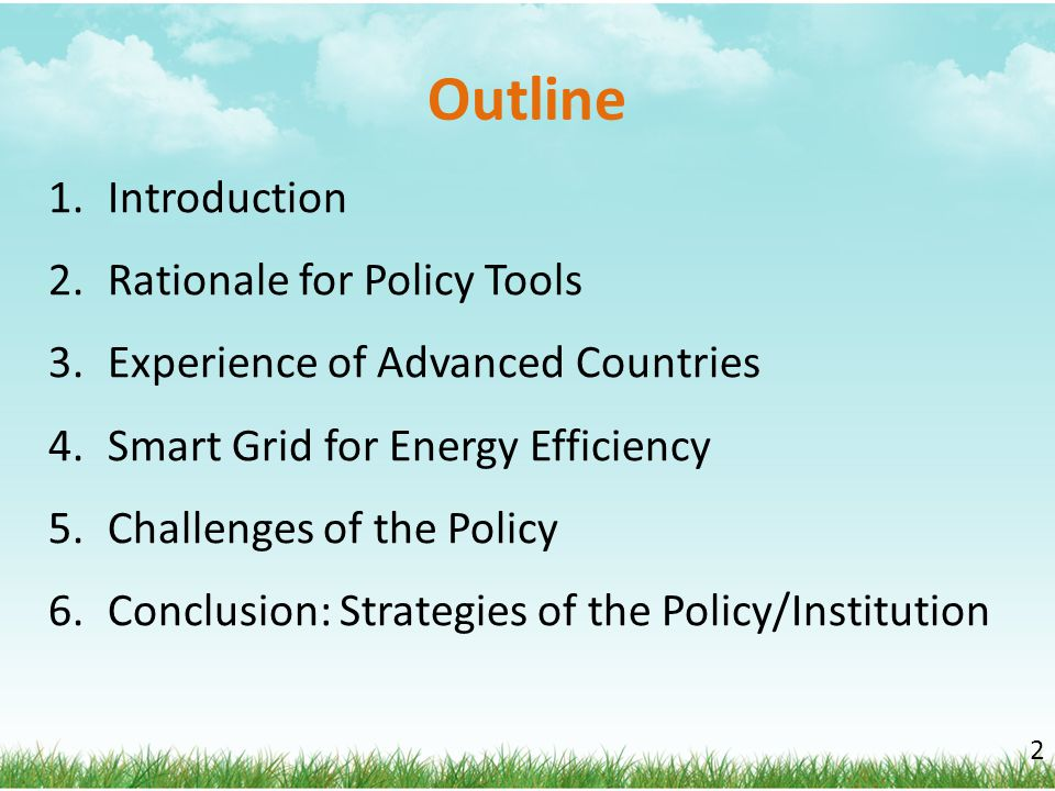 Outline Introduction Rationale for Policy Tools