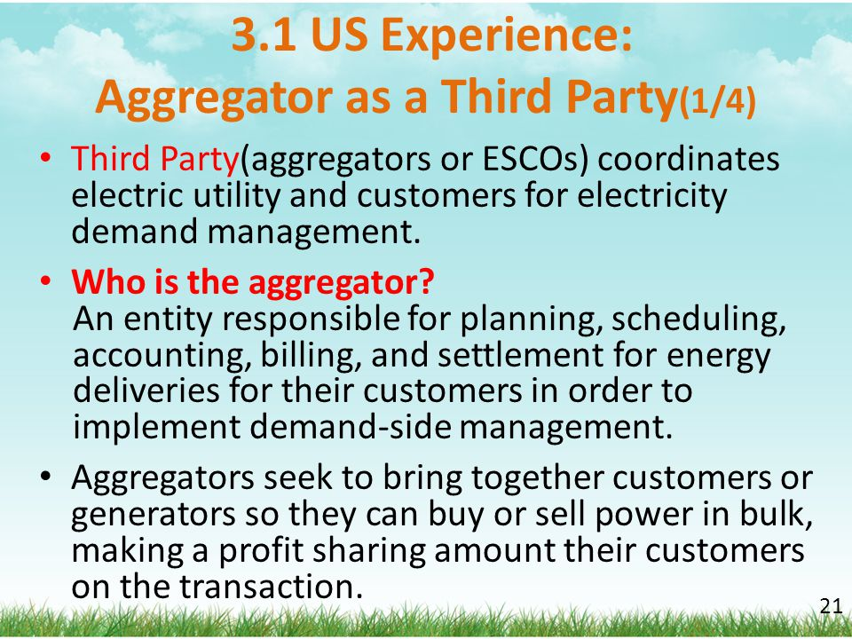 3.1 US Experience: Aggregator as a Third Party(1/4)