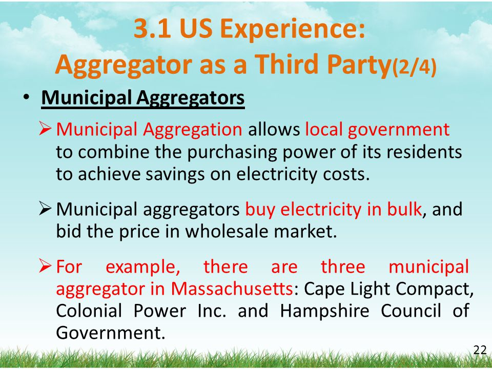 3.1 US Experience: Aggregator as a Third Party(2/4)