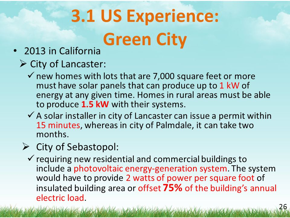3.1 US Experience: Green City