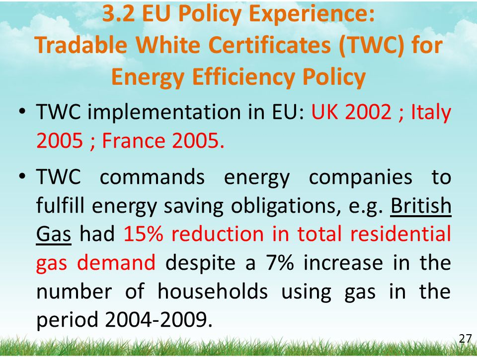 3.2 EU Policy Experience: Tradable White Certificates (TWC) for Energy Efficiency Policy