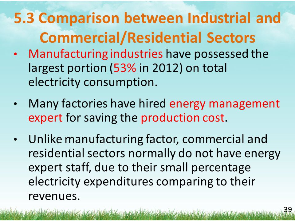 5.3 Comparison between Industrial and Commercial/Residential Sectors