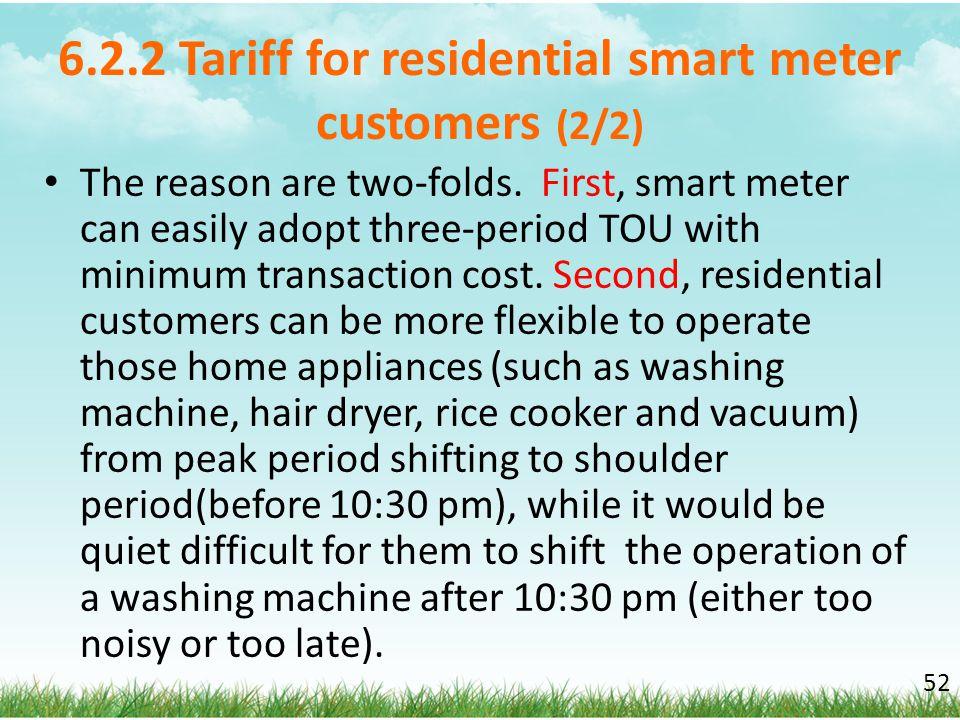 6.2.2 Tariff for residential smart meter customers (2/2)