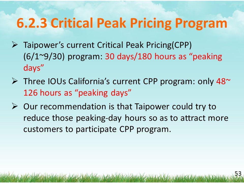 6.2.3 Critical Peak Pricing Program