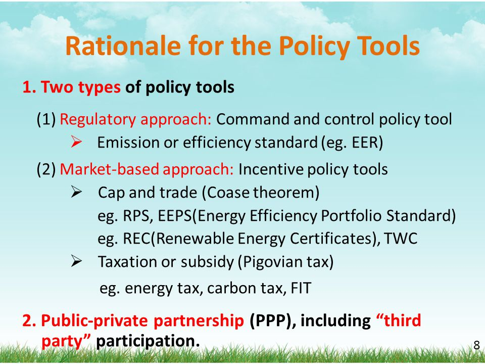 Rationale for the Policy Tools
